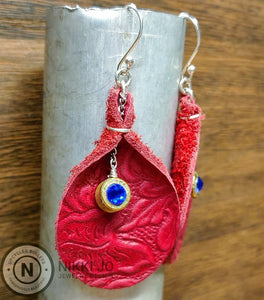 Red Leather & Brass 5.7 Bullet Casing Earrings