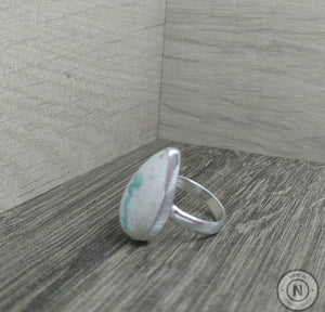 Emerald in Quartz Sterling Silver/ Argentium Ring