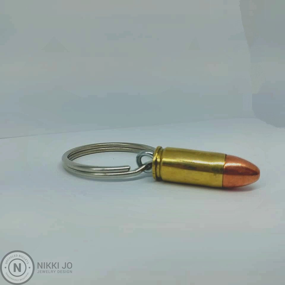 Authentic Inert .9mm Caliber Recycled Bullet Key Chain