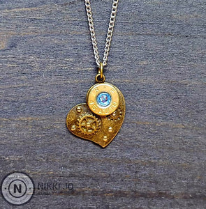 45 Bullet Casing & Brass Steam Punk Heart
