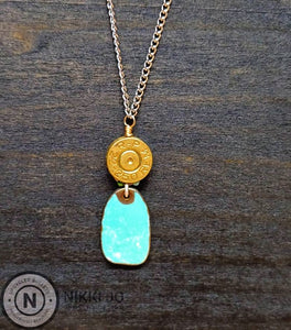 22.250 Bullet Casing & Turquoise Colored Charm