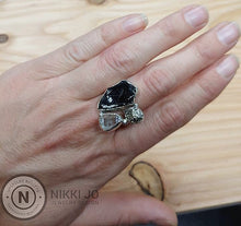 Load image into Gallery viewer, Shungite, Pyrite & Herkimer Ring