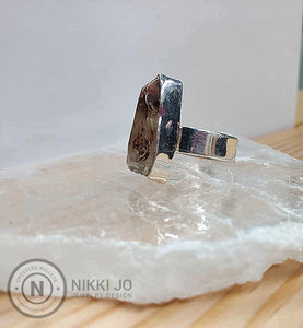 Quartz with Iron Flakes & Wide Sterling Silver Band