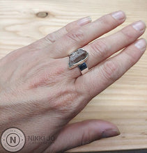 Load image into Gallery viewer, Quartz with Iron Flakes & Wide Sterling Silver Band