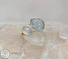Load image into Gallery viewer, Aquamarine and Moonstone Sterling Silver Ring