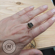 Load image into Gallery viewer, Moldavite Thin Sterling Silver Band