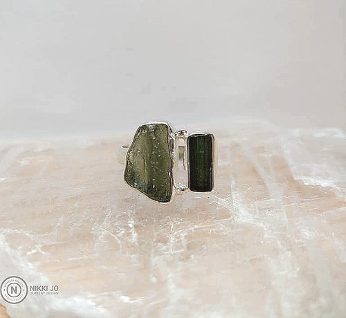 Moldavite and Green Tourmaline Ring