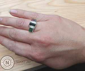 Watermellon Tourmaline Triple Bar Ring