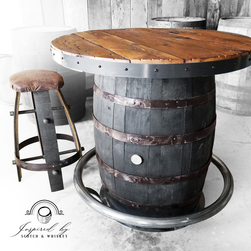 Foot Rail Whiskey Barrel bar - Bar - Mancave - Whiskey Barrel table - Handcrafted From A Reclaimed Whiskey Barrel