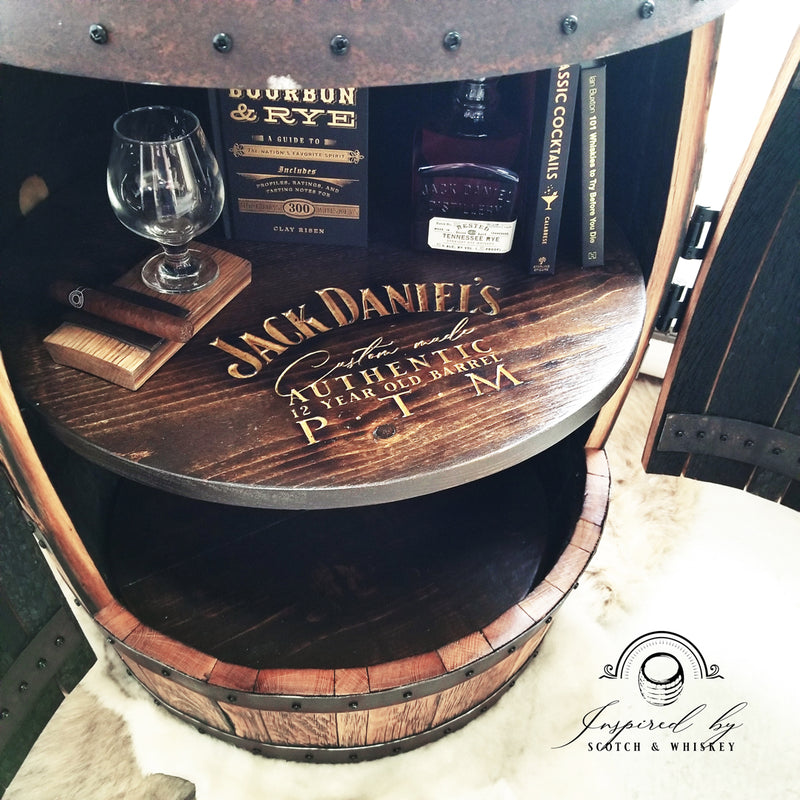 1 - Whiskey Barrel - One Door Barrel Liquor cabinet (Custom Logo on Shelf) Bar - Mancave - Whiskey Barrel table - Handcrafted From A Reclaimed Whiskey Barrel