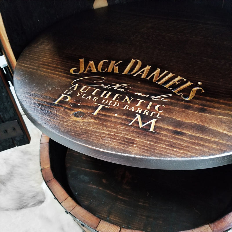 1 - Two Door Barrel Liquor cabinet (Custom Logo on Shelf)  - Bar - Mancave