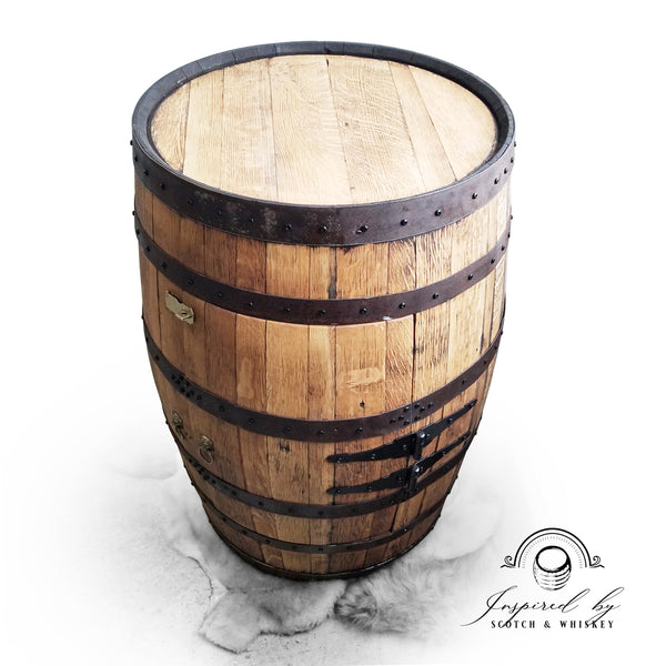 1 - Whiskey Barrel - Two Door Barrel Liquor cabinet (Custom Logo on Shelf)  - Bar - Mancave