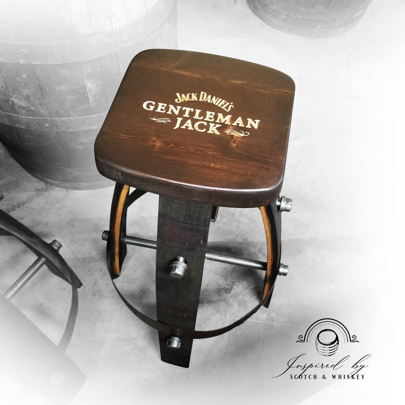 Custom (Square) Whiskey Barrel Bar Stool - Chair - Seat - Mancave - Bar - Stools - Bar stools