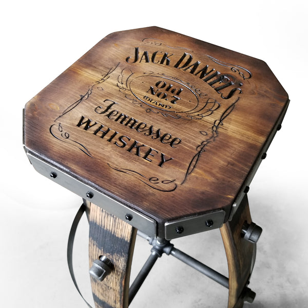 Custom (Metal & wood - Tan) Whiskey Barrel Bar Stool - Chair - Seat - Mancave - Bar - Stools - Bar stools