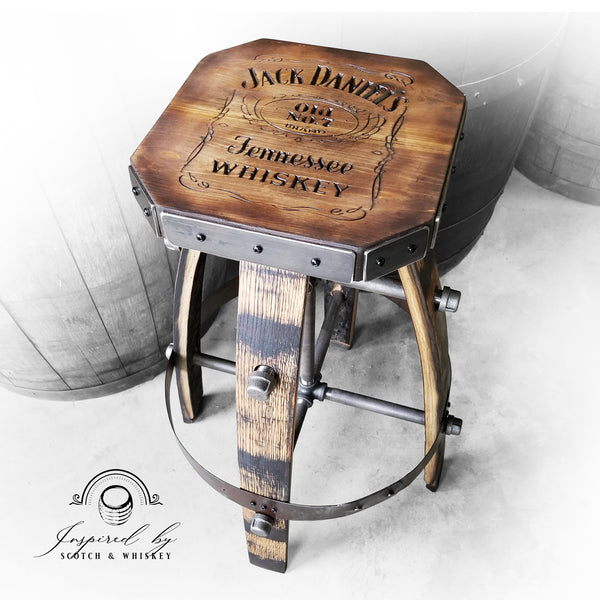 Whiskey Barrel - Custom (Metal & wood - Tan) Whiskey Barrel Bar Stool - Chair - Seat - Mancave - Bar - Stools - Bar stools