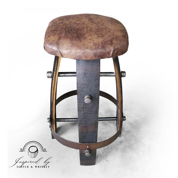 Expresso - Whiskey Barrel Bar Stool - Chair - Seat - Mancave - Bar - Stool