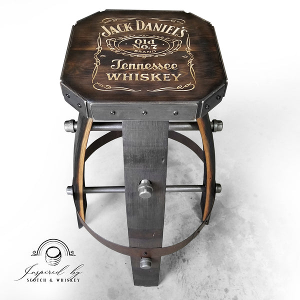 Whiskey Barrel - Custom (Metal & wood - Expresso) Whiskey Barrel Bar Stool - Chair - Seat - Mancave - Bar - Stools - Bar stools