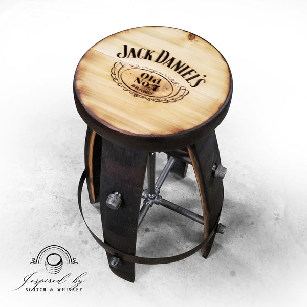 Whiskey Barrel - Custom (Round) Whiskey Barrel Bar Stool - Chair - Seat - Mancave - Bar - Stools - Bar stools
