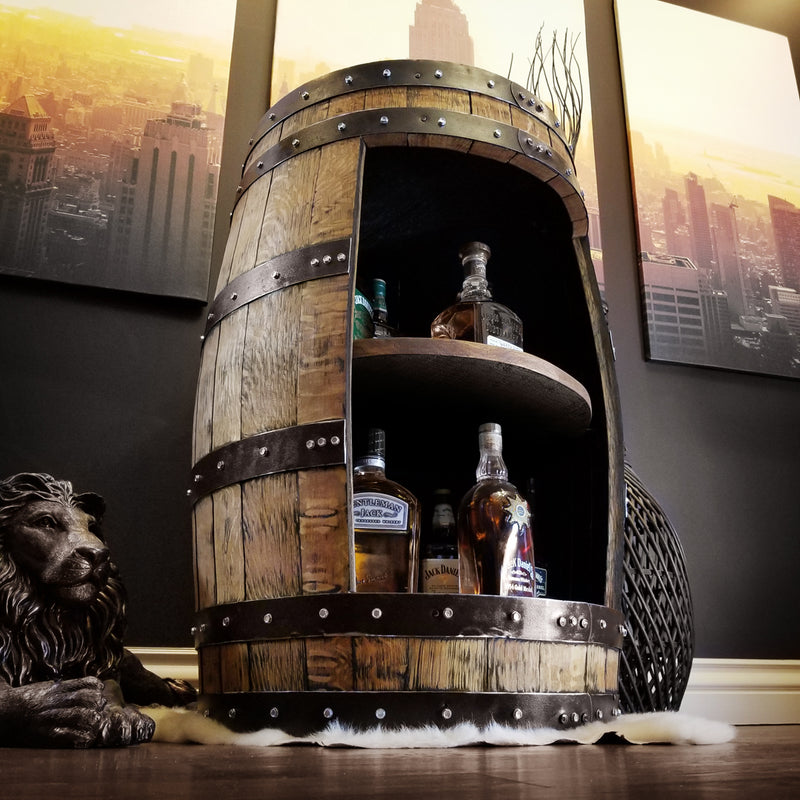 1 - Whiskey Full Barrel Liquor Cabinet