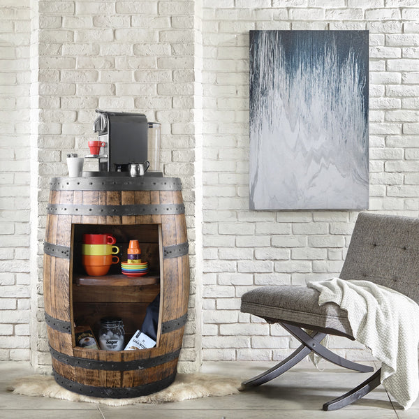 Whiskey Barrel - Half Barrel Opened Cabinet - Whiskey Barrel Liquor Cabinet - Barrel Bar - Whiskey Barrel Liquor Bar - Man Cave - Rustic Whiskey Barrel Bar