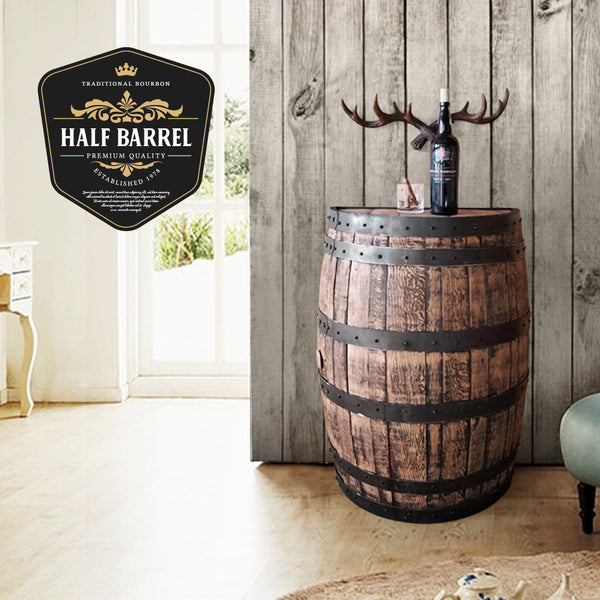 Whiskey Barrel - Half Barrel Wall Mount - Whiskey Barrel Liquor Cabinet - Barrel Bar - Whiskey Barrel Liquor Bar - Man Cave - Rustic Whiskey Barrel Bar