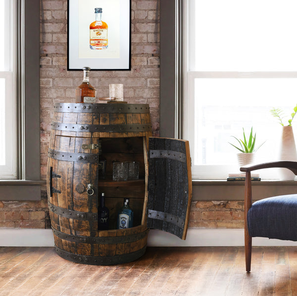 Whiskey Barrel - Half Barrel Cabinet - Whiskey Barrel Liquor Cabinet - Barrel Bar - Whiskey Barrel Liquor Bar - Man Cave - Rustic Whiskey Barrel Bar