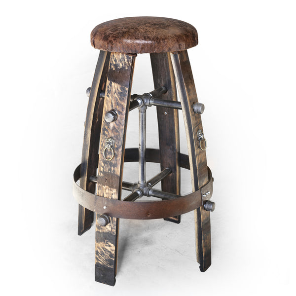Whiskey Barrel - Barrel Bar Stool (Lion head)