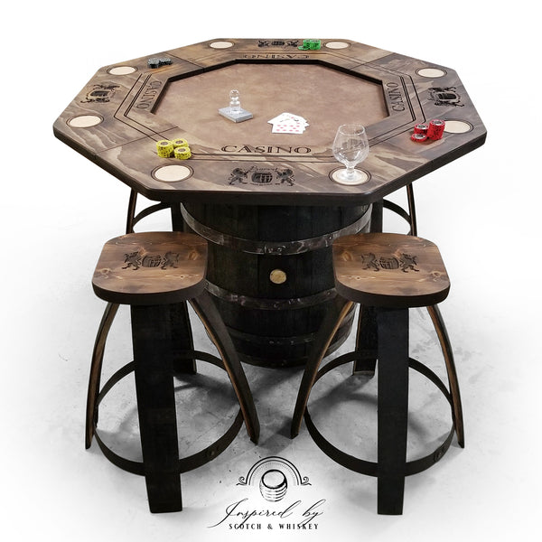 Whiskey Barrel - Poker Whiskey Barrel Table (Lion) - Bar Stools - Mancave - Rustic Poker Gambling