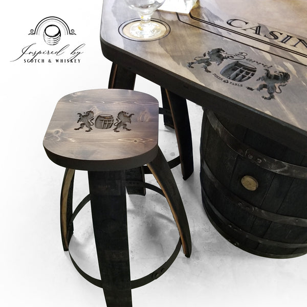 Poker Whiskey Barrel Table (Lion) - Bar Stools - Mancave - Rustic Poker Gambling