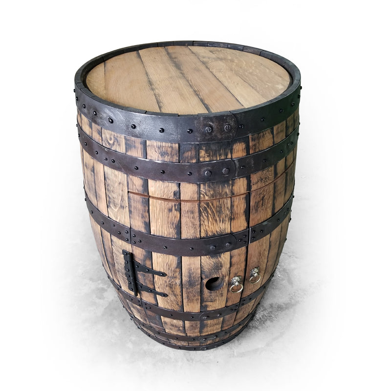 Whiskey Barrel - Full Barrel Cabinet - Whiskey Barrel Liquor Cabinet - Barrel Bar - Whiskey Barrel Liquor Bar - Man Cave - Rustic Whiskey Barrel Bar