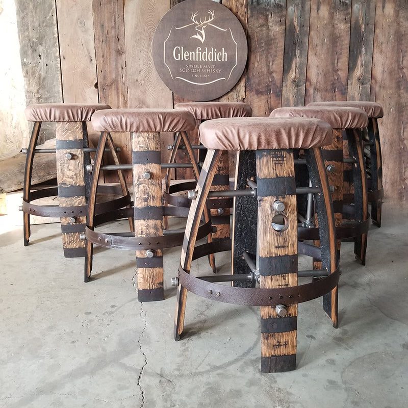 Whiskey Barrel - Barrel Bar Cushion Stool