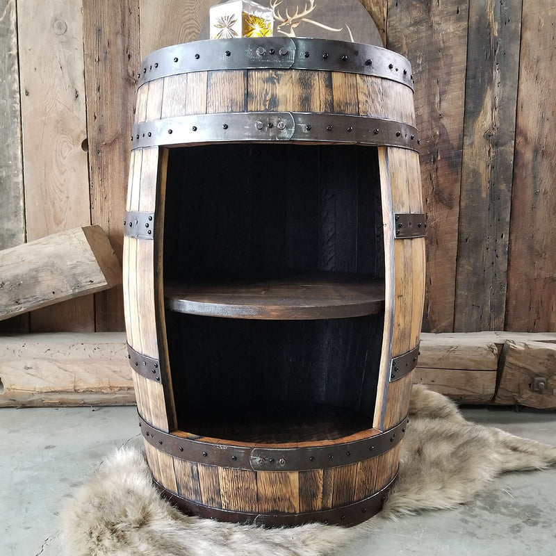 1 - Whiskey Barrel - Whiskey Full Barrel Liquor Cabinet (NO DOORS)