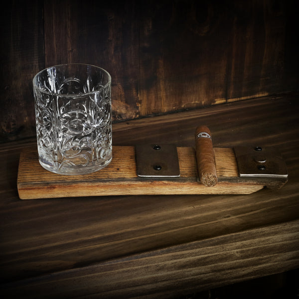 Whiskey Barrel Cigar and Glass Holder
