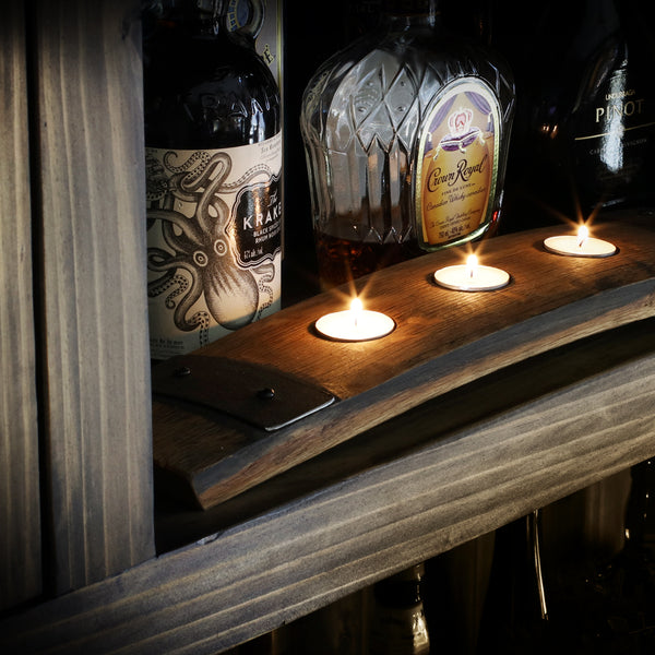 Whiskey Barrel Candle Holder