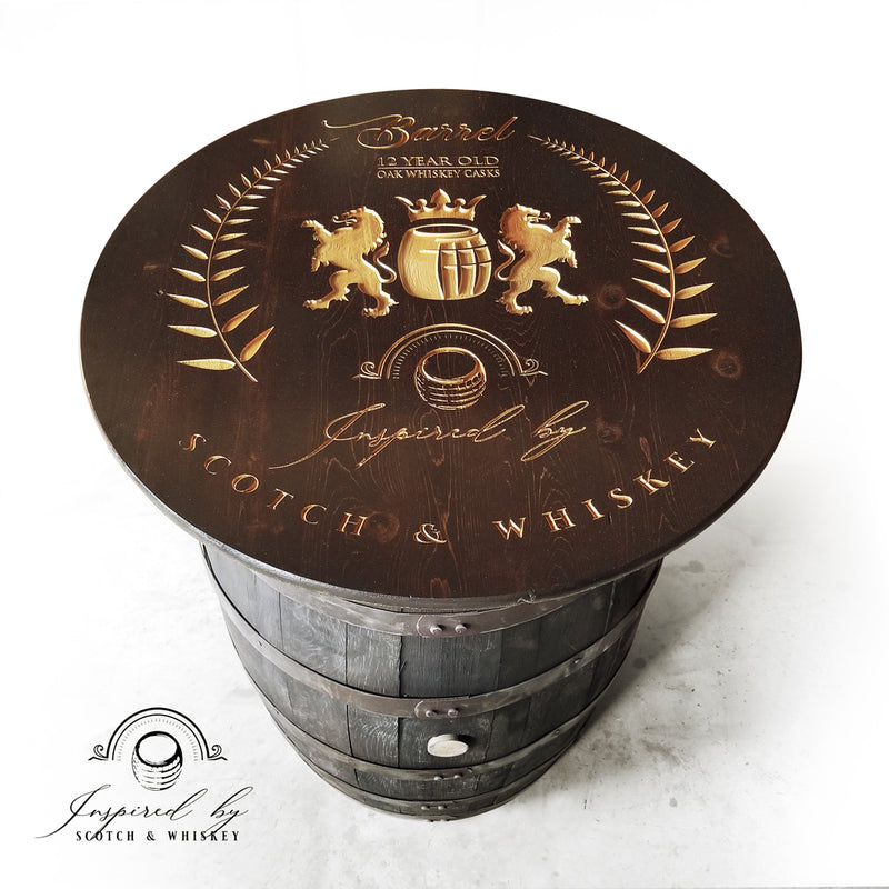 Whiskey Barrel - Expresso Barrel Table (Custom Logo) - Bar - Mancave - Whiskey Barrel table - Handcrafted From A Reclaimed Whiskey Barrel