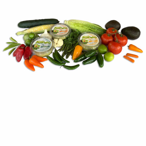Loco Avocado Mild, medium and Almost hot containers with vegetables surrounding them benefits