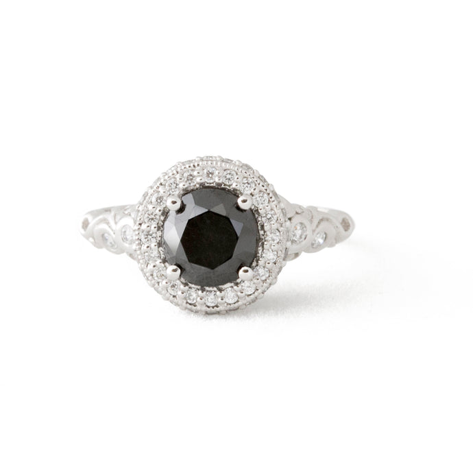 Paige's Black Diamond Platinum Engagement Ring