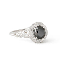 Load image into Gallery viewer, Paige's Black Diamond Platinum Engagement Ring
