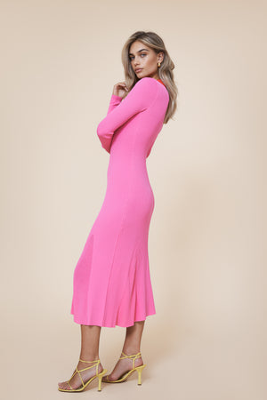 Collar Knitted Dress Pink