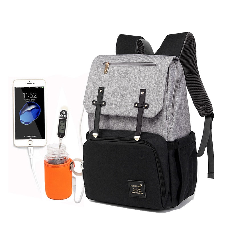 2019 Luxury Diaper Bag USB Rechargeable Holder