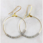 Handcrafted Grey Sea Shell Hoops