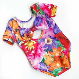 Summer brights bow back bodysuit