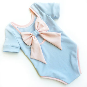 Blue and Pink Bow Back Bodysuit