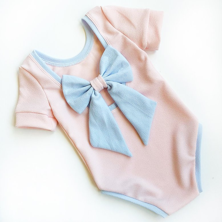 Pink and Blue Bow Back Bodysuit