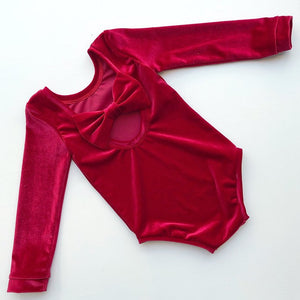 Red Velvet Bow Back Bodysuit and Dress