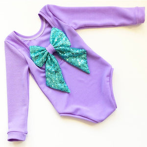 Lilac and Mint Sequin bow back bodysuit
