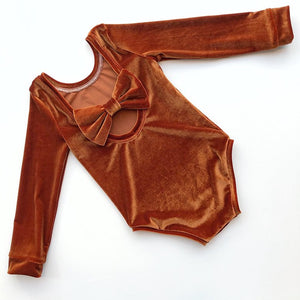 Rust Velvet Bow Back Bodysuit and Dress