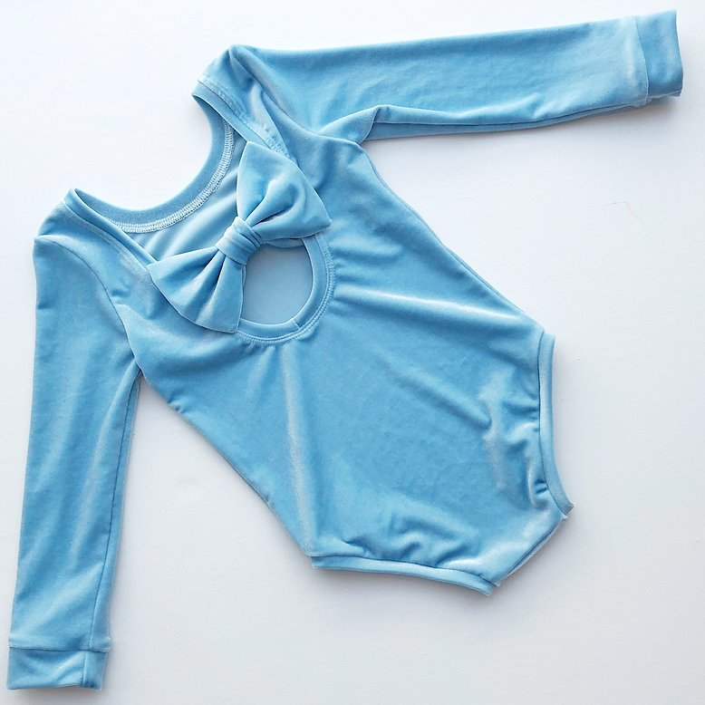 Baby Blue Velvet Bow Back Bodysuit and Dress