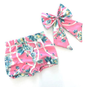 Bubblegum Floral Bloomers and Interchangeable Bow Set