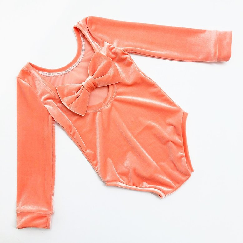 Sunrise Orange Velvet Bow Back Bodysuit and Dress